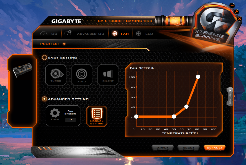 Gigabyte Xtreme Engine Fan Curve