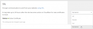 Cloudflare Crypto SSL Dashboard Very Strict