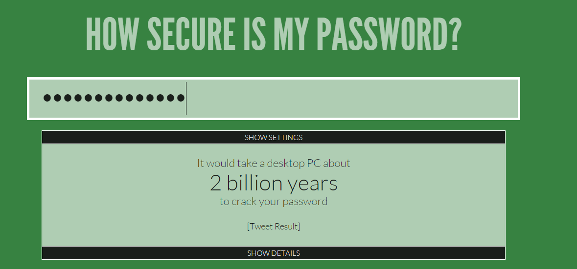 How Secure is my password Dot Net