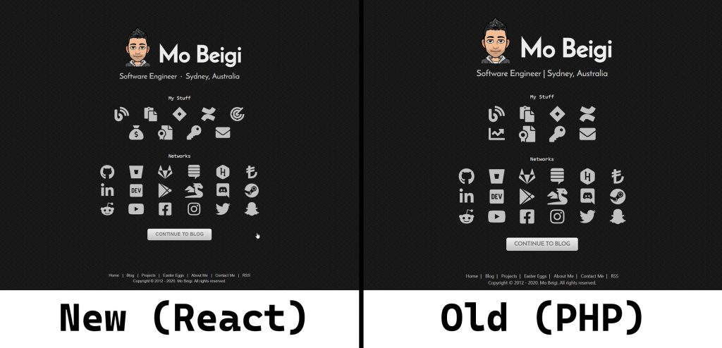 mobeigi.com React Rewrite Side by Side