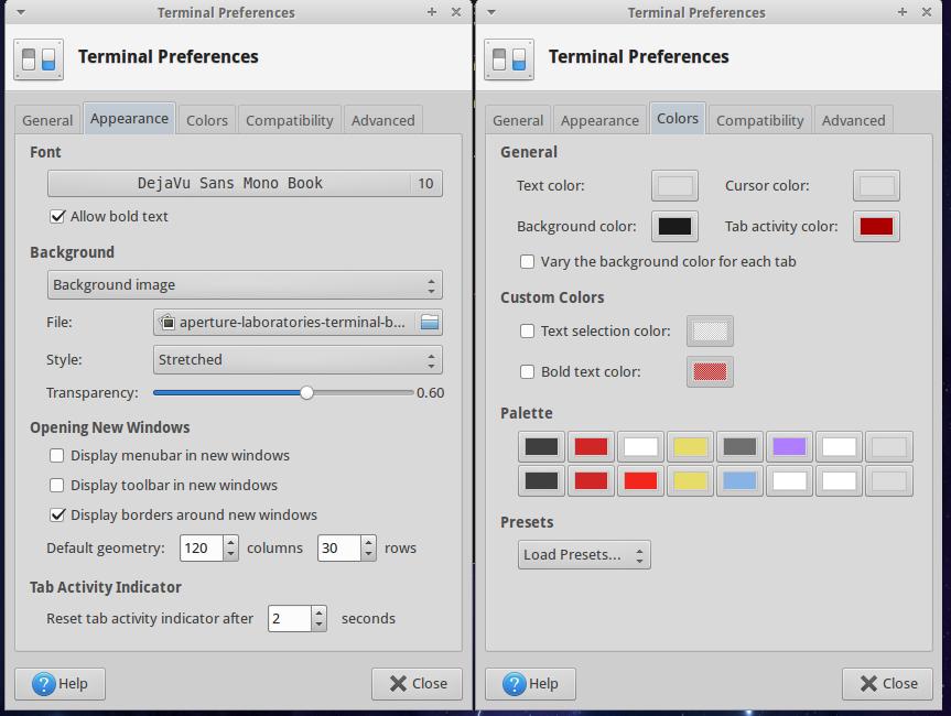 Xubuntu Terminal Style Preferences
