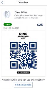 ServiceNSW App Dine Voucher