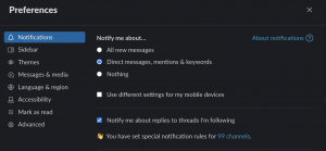 Slack Workspace Wide Notification Preferences